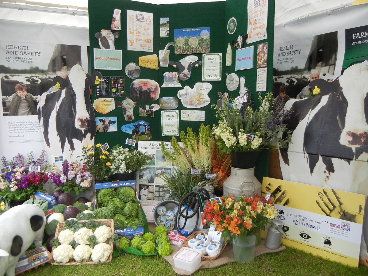The wonderful produce and informaiton display in the NFU marquee