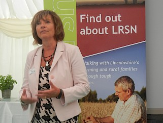 LRSN's Project Manager Alison Twiddy talking to guests at the LRSN and Brown and Co Breakfast Event