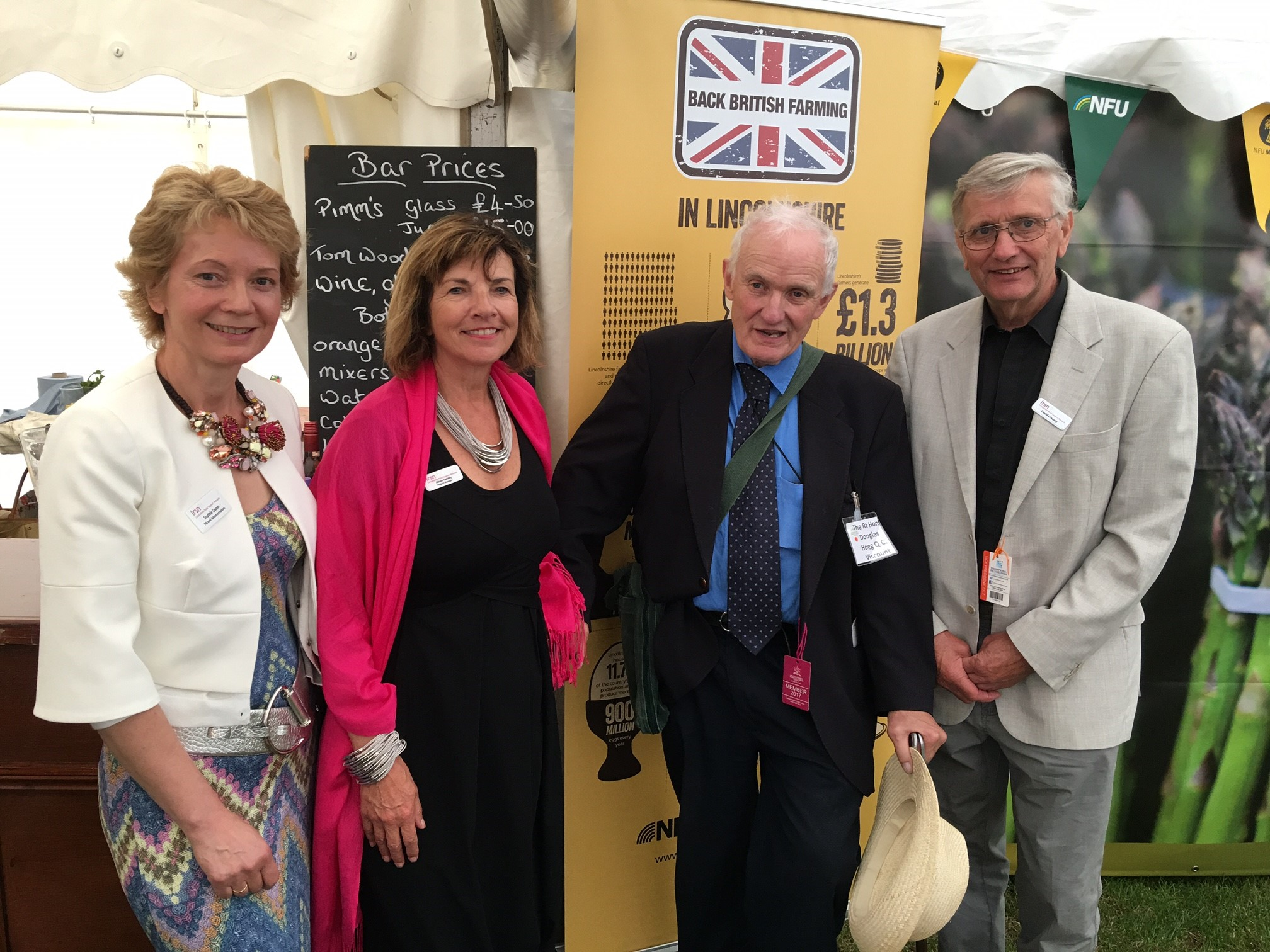 LRSN's David Creasey, Alison Twiddy and Sophie Dunn meeting Douglas Hogg in the NFU marquee